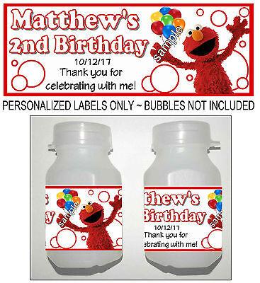 30 SESAME STREET ELMO BIRTHDAY PARTY FAVORS BUBBLE LABELS (Bubble Birthday Party)