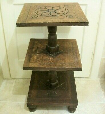 OLD OAK 3 TIER STAND