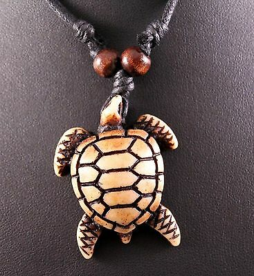 Yak Bone (Imitation) Sea Turtle Pendant Cord Necklace w/Free Jewelry Box/Ship