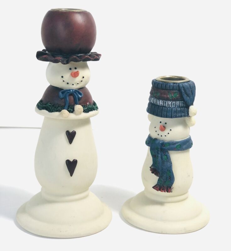 Snowman Candle Holders -Snow Family Mother, Child Cute!