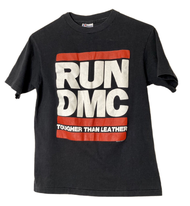 Vintage RUN DMC Tougher Than Leather 1988 Tour Shirt Hanes Sz M (38-40) **RARE**