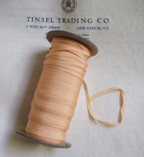 "10 Yards Vintage Tiny Rayon Peach Taffeta Ribbon Antique Doll 1/8"" Lampshade"