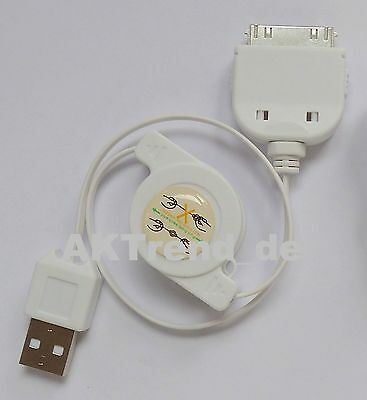 Ausziehbar Ladekabel USB 2.0 Kabel F iPhone 3 3GS 4 4S iPod NaNo iPad Datenkabel 3gs Ipod Handy