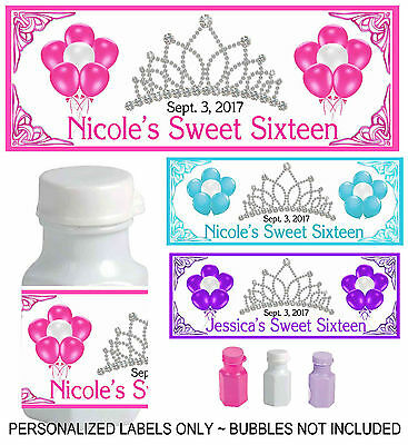 30 SWEET SIXTEEN SWEET 16 PARTY FAVORS BUBBLE LABELS - Sweet Sixteen Favors