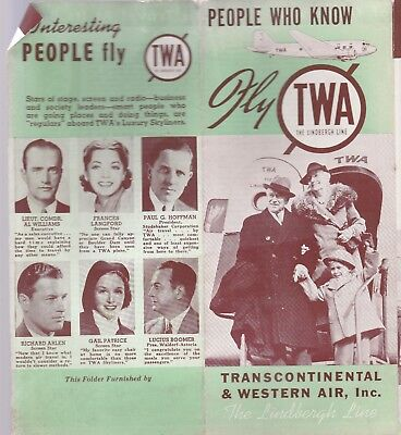 "TWA ""THE LINDBERG LINE"" PEOPLE WHO  KNOW BROCHURE-1940'S?"