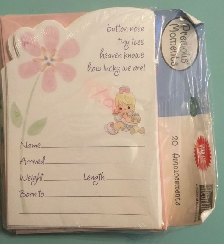 Precious Moments Set Of 20 Birth Announcements And Envelopes Sealed