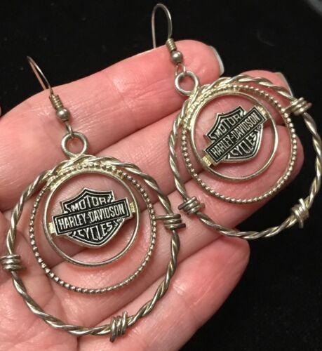 Harley Davidson Motorcycle Sterling Silver Barbed Wire Hoop Earrings 925 signed