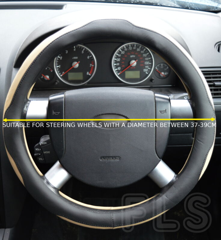 UNIVERSAL FAUX LEATHER BLACK/BEIGE STEERING WHEEL COVER JD005-BLKBGE  LXS