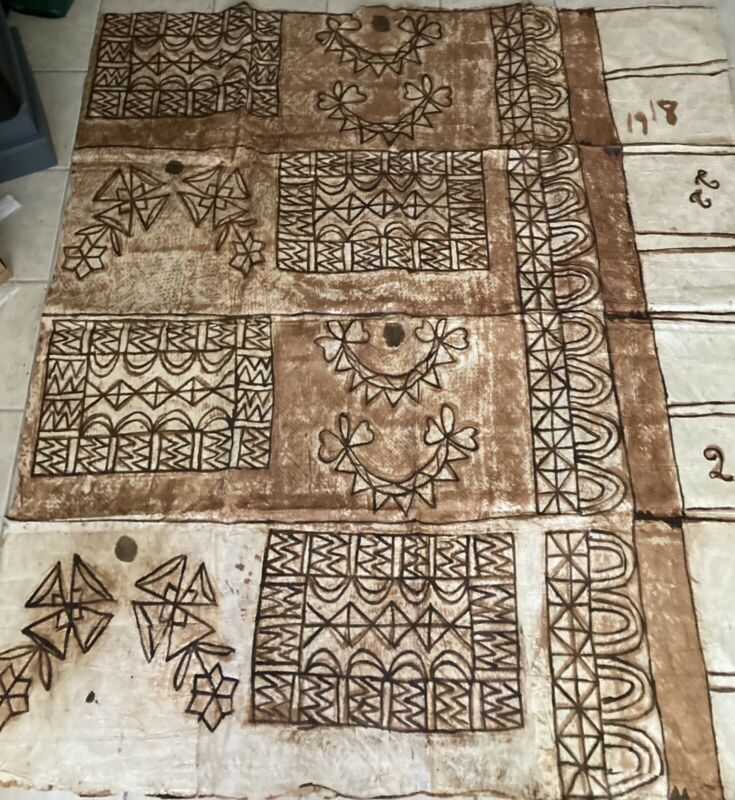 BIG Old Polynesian Tapa Bark Cloth Pacific Islands Oceania 10' x 6'