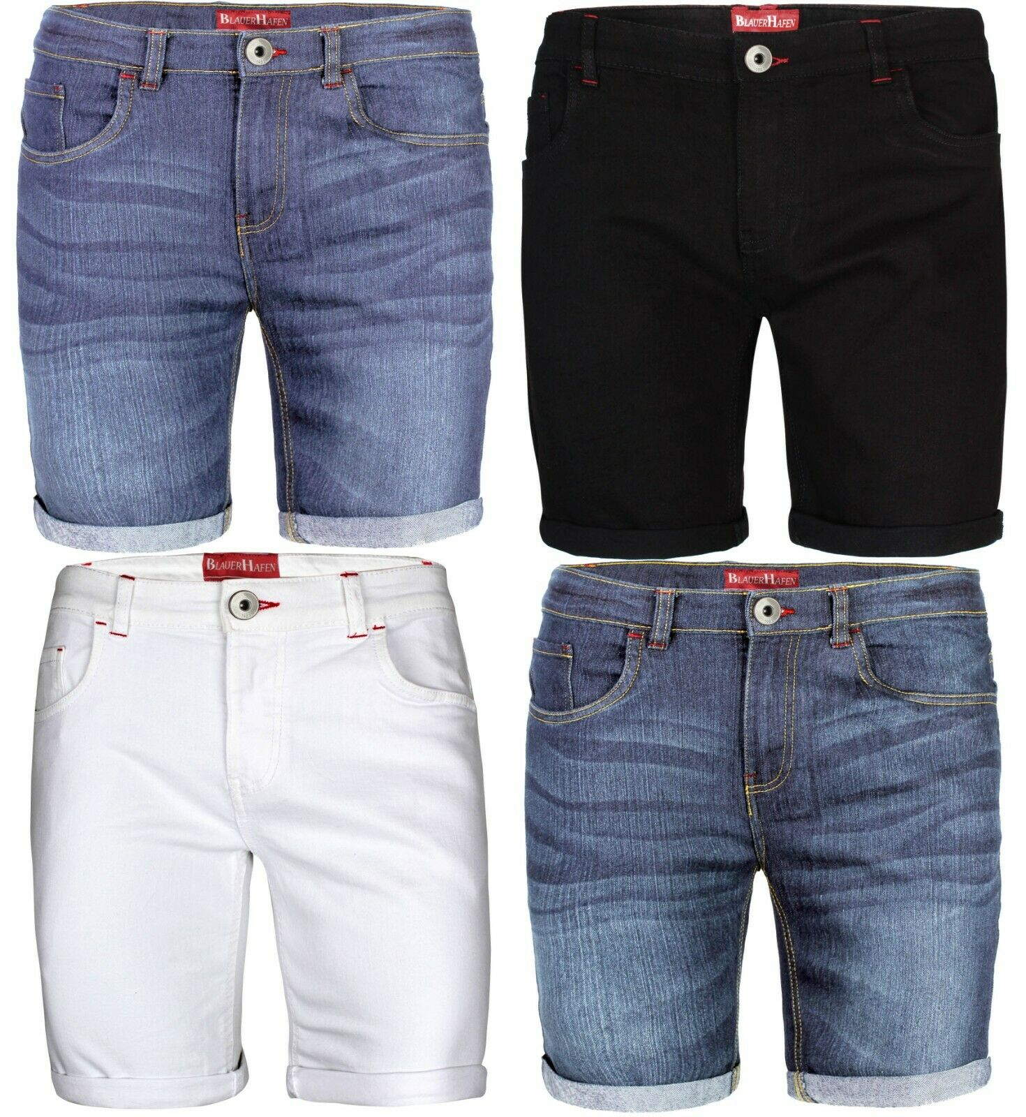 Herren Designer Jeans Shorts Elasthan Kurze Hose SuperFlex Slim Fit Sommer Denim