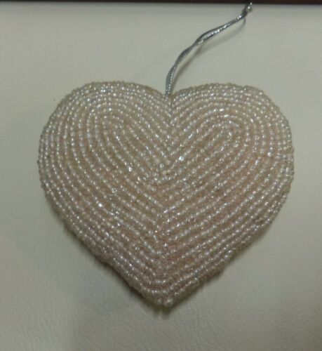CLEAR BEADED ON A LIGHT PINK BACKGROUND HEART ORNAMENT
