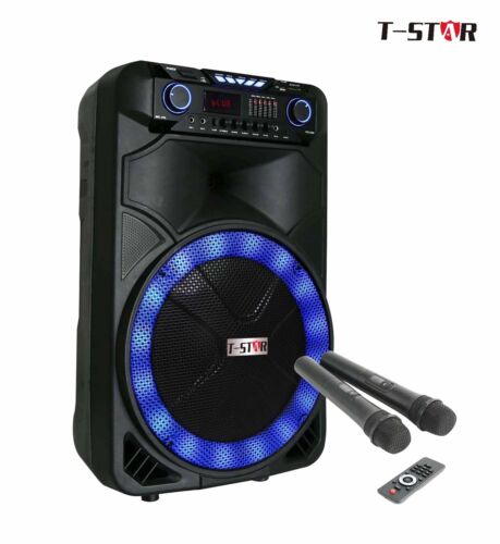 "T-STAR 15"" Portable Rolling DJ PA Speaker Bluetooth karaoke LED +2 wireless mic"