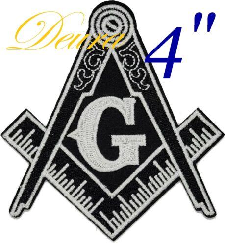 "Masonic 4"" Black LOGO EMBROIDERED PATCH iron-on FREEMASON SQUARE COMPASS MASON"
