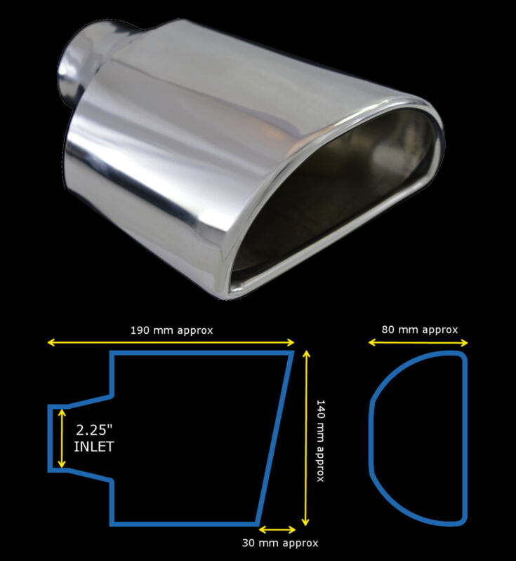 UNIVERSAL STAINLESS STEEL EXHAUST TAILPIPE 2.25