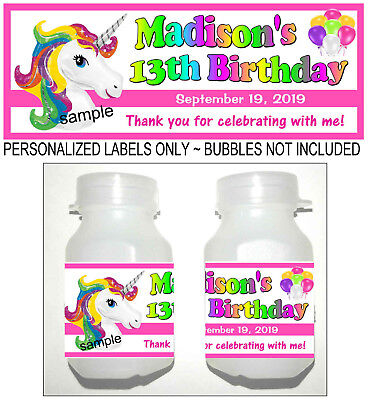 30 RAINBOW UNICORN BIRTHDAY PARTY FAVORS BUBBLE LABELS (Bubble Birthday Party)