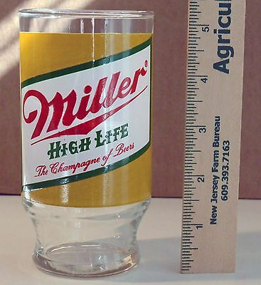 Vintage Miller High Life Beer Glass Drinking Glass Barware Man Cave