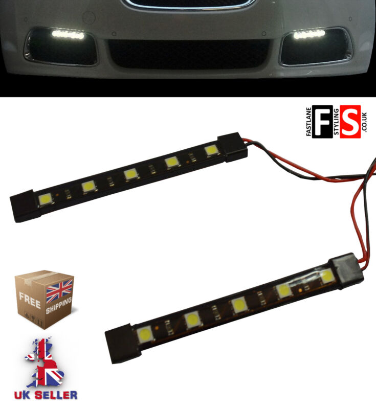 DRL LED DAYTIME RUNNING LIGHTS-PAIR 5 LED LAMPS-WATERPROOF  LXS