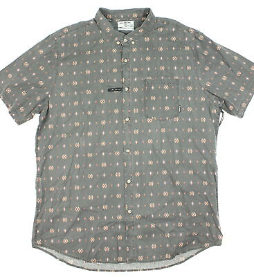 Billabong Mens Jetson Geo Print SS Button Up Washed Black 2XL New