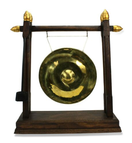 Thai metal golden gong - dark wood finish with gold finials, 52cm high Authentic