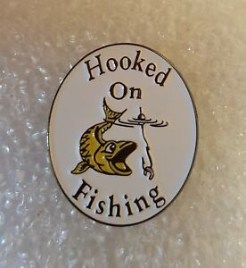 Hooked On Fishing enamel pin / lapel badge fly course sea fishing