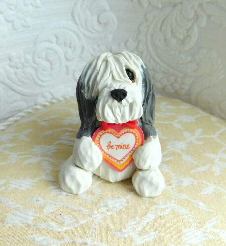 OOAK Bearded Collie Valentine Sculpture Clay Sculpture by Raquel theWRC