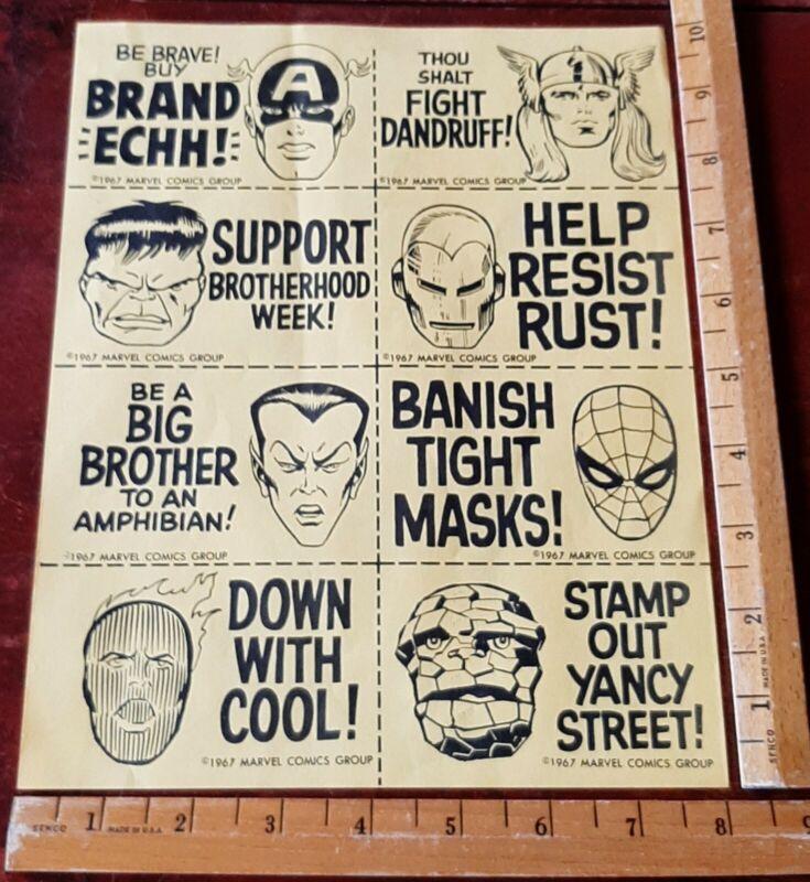 Rare 1967 Marvel Marvelmania club kit sheet, Hulk, Thor, Iron Man, The Thing