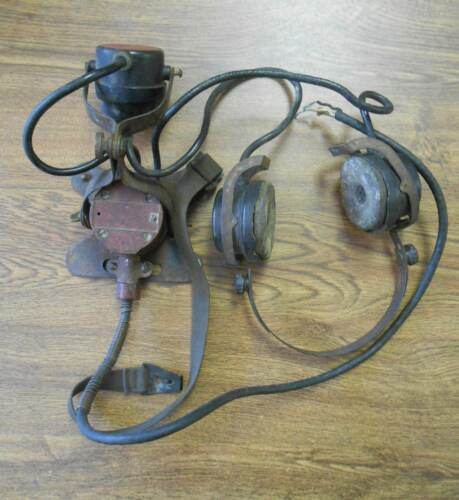 WWl WW2 Original Radio Headset & Microphone Aviator Pilot Communication Set