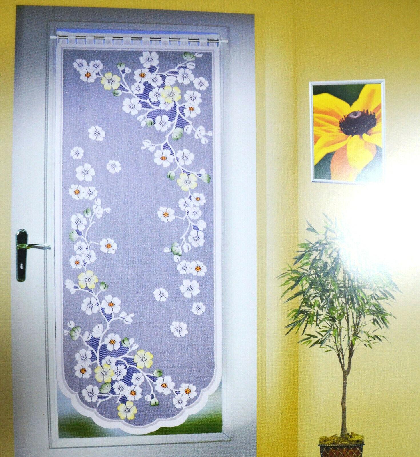 Blumen Türgardine Balkontür Wohnungstür Gardine Türpanneau 160 x 60 cm Brandneu