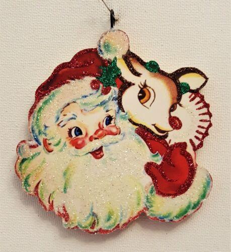 SANTA CLAUS w RUDOLPH RED NOSE REINDEER  * Glitter CHRISTMAS ORNAMENT * Vtg Img