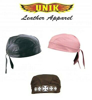 Leather Biker Skull Cap - Black Pink Genuine Leather Skull Cap Head Wrap Doo Rag Biker Bandana Hat Beanie