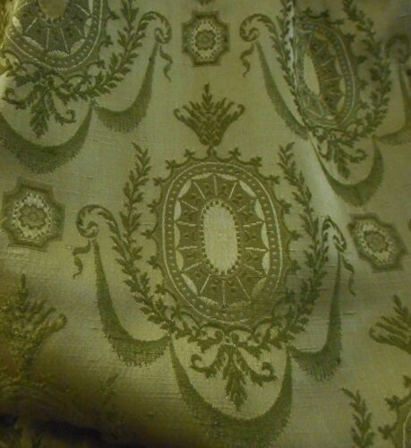 Vintage Neo Empire Regency French Style Laurel Medallion Damask Fabric ~Olive