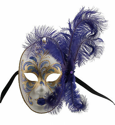 Mask from Venice Face Volto in Feathers Ostrich Violet-Mask Venetian 1415
