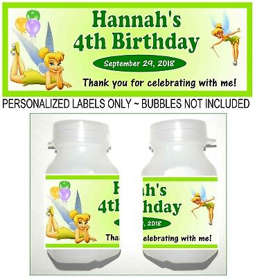 TINKERBELL BIRTHDAY PARTY FAVORS BUBBLE LABELS - Tinkerbell Favors