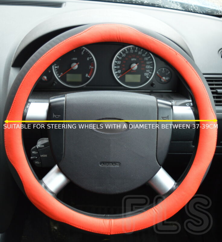 UNIVERSAL FAUX LEATHER BLACK/RED STEERING WHEEL COVER JD005-REDBLK  LXS