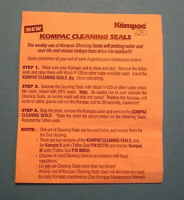 New Style Kompac Ii Dampener Cleaning Seals Set Part 93930
