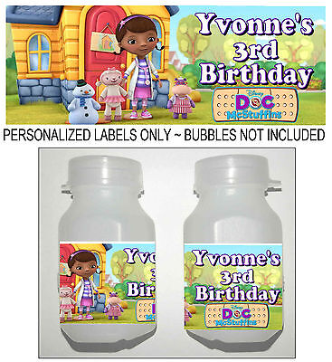 30 DOC MCSTUFFINS BIRTHDAY PARTY FAVORS BUBBLE LABELS (Doc Mcstuffins Birthday Party)