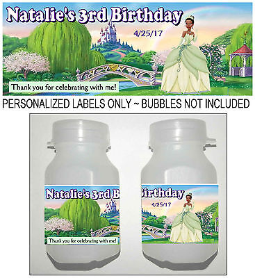 30 DISNEY PRINCESS TIANA BIRTHDAY PARTY FAVORS BUBBLE LABELS](Princess Tiana Party)