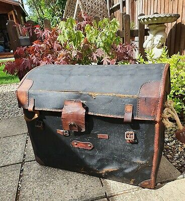 Antique Wicker & Canvas Domed Steamer Trunk Chest by J Denty's Hyde Park London