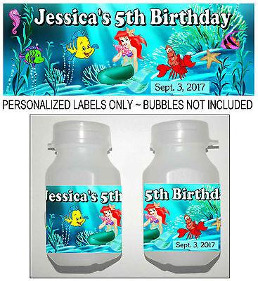 30 LITTLE MERMAID ARIEL BIRTHDAY PARTY FAVORS BUBBLE LABELS](Ariel Party)