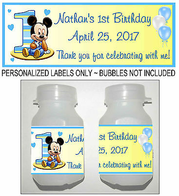 30 MICKEY MOUSE 1ST BIRTHDAY PARTY FAVORS BUBBLE LABELS