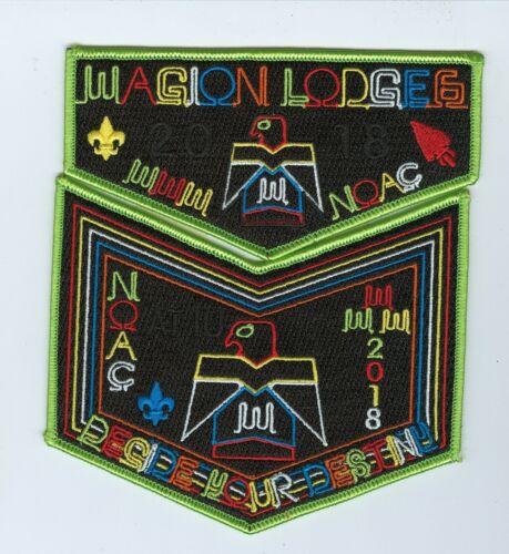 MINT Boy Scout OA Lodge 6 (Wagion) 2018 NOAC Green Border 2-Piece Flap Set