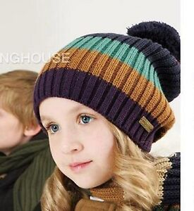 Kids-Children-Boys-Girls-Lady-Thermal-Warm-Winter-Sriped-Ski-Hat-Cap-Beanie-Gift