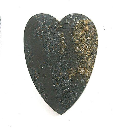 DVH Rare Druzy Pyrite on Slate Heart Cabochon Drusy 71x53x5 (2619)