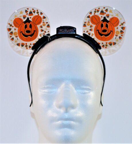 Disney Halloween Pumpkin Mickey Ear Headband Animated Glow Light Up NEW RARE