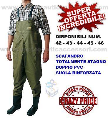 SCAFANDRO STIVALE DOPPIO PVC STAGNO NUMERO 46 BARCA GOMMONE PESCA SPINNING ALTRO