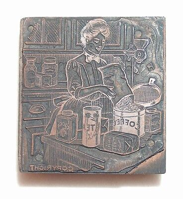 Antique Print Block Woman With Coffee Tea Canisters Grinder Cocoa Spice Can