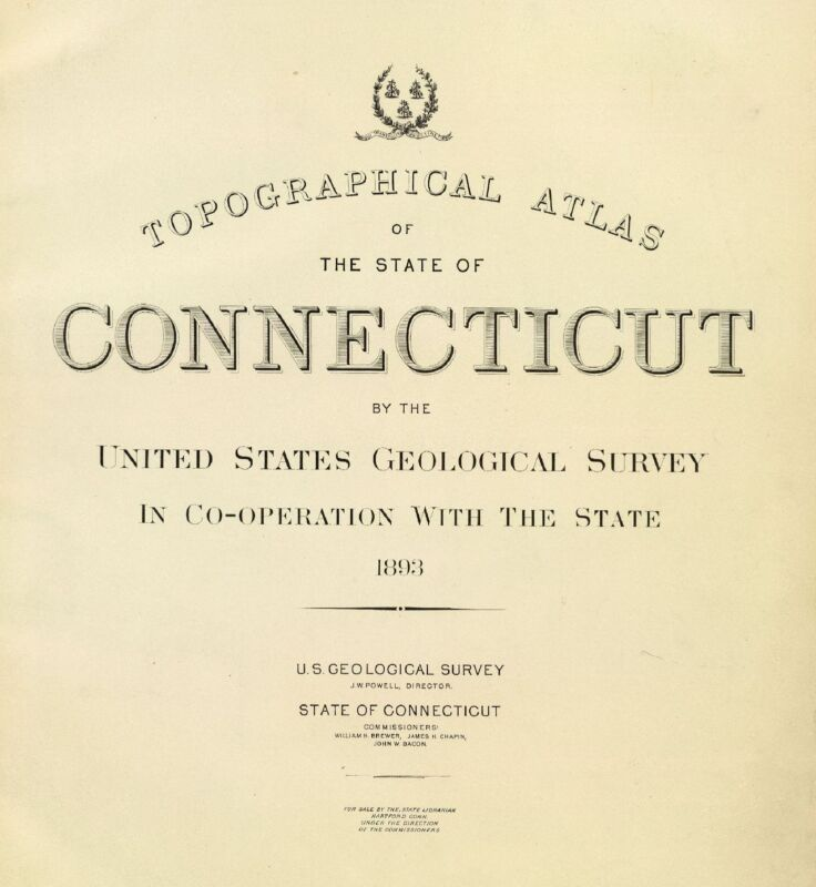 1893 CONNECTICUT STATE ATLAS maps old topographical GHOST TOWNS DVD S5