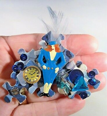 Blue Puzzle Piece Pin (Cool Flight Attendant Pilot Brooch Pin Puzzle Piece Clock Blue Lady Uniform)