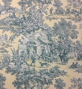 KRAVET SCENIC TOILE 540 PALE YELLOW COUNTRY FRENCH TOILE FABRIC BY THE YARD 54