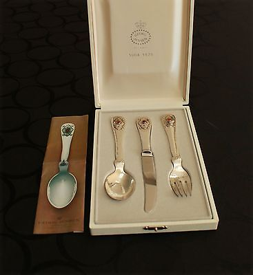 GEORG JENSEN Sterling Jubilee 75 Child's Set. 3 Pieces w. Carnelian. NICE BOX